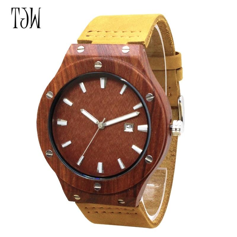 Quartz Wrist Watch  Relogio Feminino  Wooden Watch  Quartz Watches  TJW    Bamboo Wooden Watch  Top Brand Luxury  Date Display  Zebra Wood2