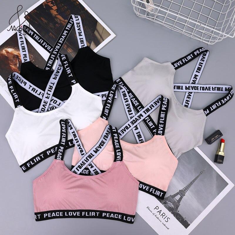 Maidy Sexy Bra Women Sports Bra Wire Free Sleep Bras Girl's Brassiere Youth Bralette Cross Beautiful Back Kids Lingerie