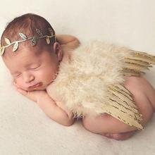 4 Colors Elastic Infant Newborn Leaves Headband + Feather Angel Wings Costume Baby Photograph Props