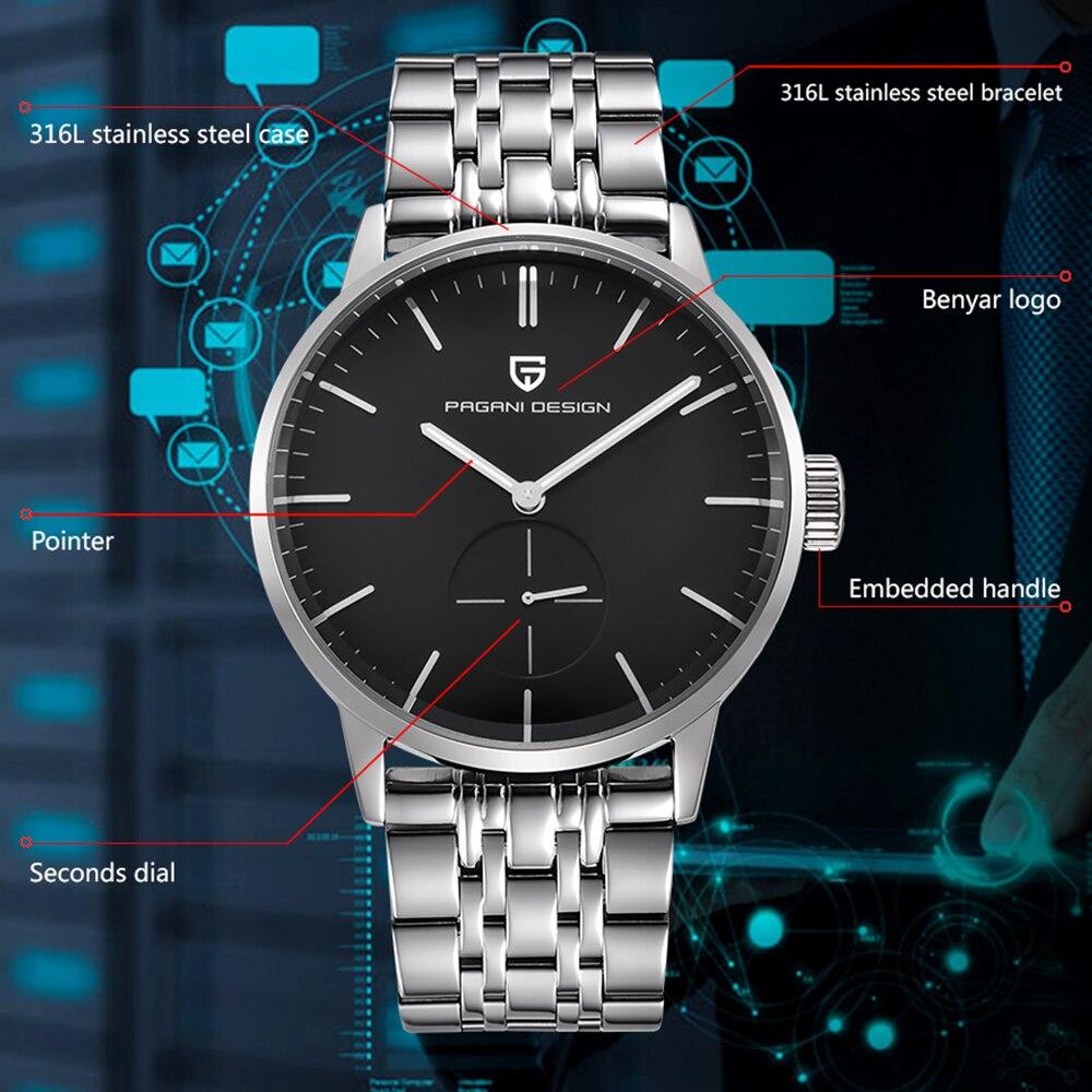 Top Luxe Merk PAGANI ONTWERP Mannen Horloges Fashion Casual Business Quartz Horloge roestvrij staal Mannen Horloges Relogio Masculino-in Quartz Horloges van Horloges op  Groep 3