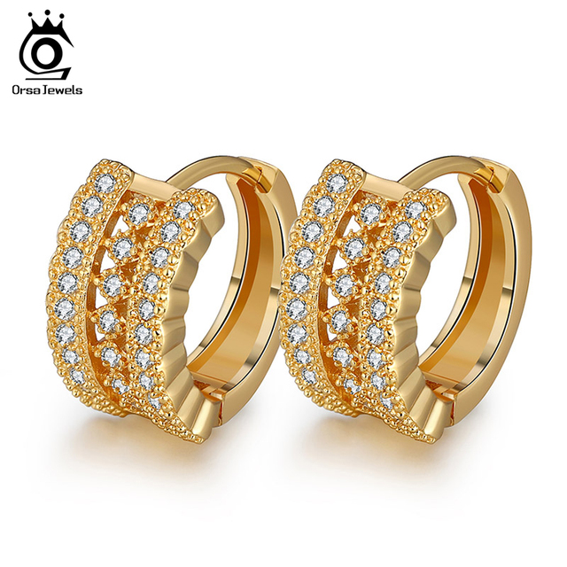 ORSA JEWELS Luxury Small Circle Austrian CZ Earring for Women Fashion Elegant Eco-Friendly Material Stud Earrings Jewelry OME23