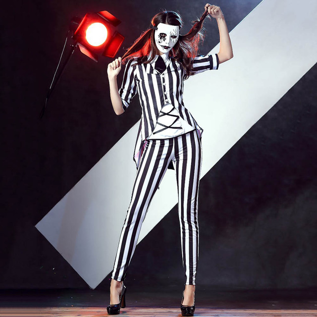 Beetlejuice Costume Womenu0027s Stripes Jazz Suit Ghost Joker Costume Magic Tricks Magician Costume Halloween Costumes for  sc 1 st  AliExpress.com & Beetlejuice Costume Womenu0027s Stripes Jazz Suit Ghost Joker Costume ...