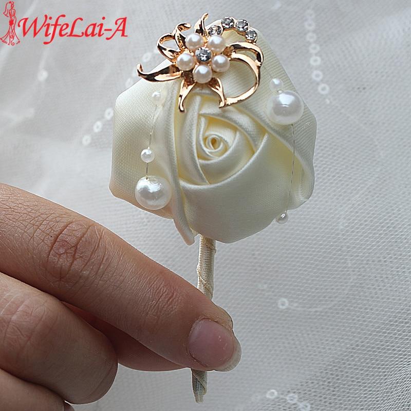 WifeLai-A Ivory Rose Flower Bride Wedding Corsage Gold/Silver Crystal Groom Pearl Beaded Brooch Flower Pins X5417-JY