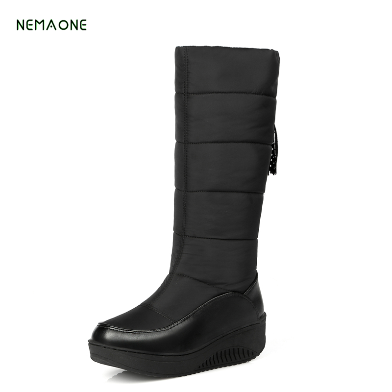 NEMAONE 2017 new winter warm snow boots fashion platform fur cotton shoes wedges heels knee high boots women pu leather boots winter warm snow boots cotton shoes flat heels knee high boots women boots wholesale high quality