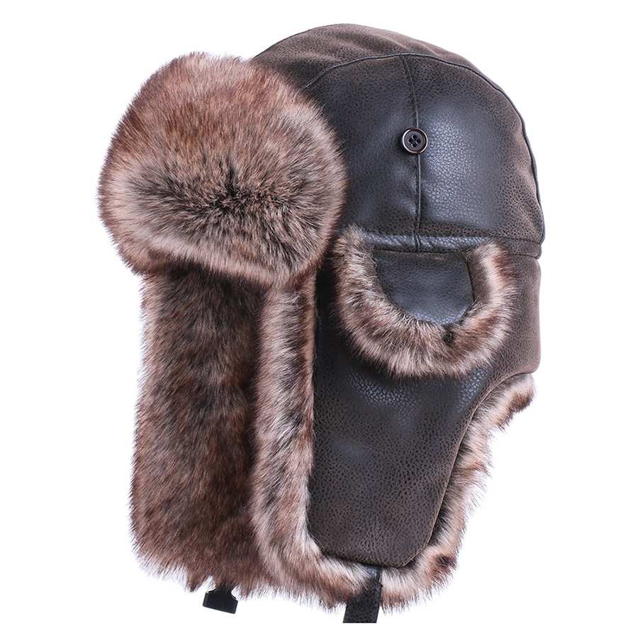 Winter Bomber Hats Vintage Russian Ushanka Caps Men Women Faux Fur Trapper Hat PU Leather Wind Proof Earflap Trooper Hats(China)