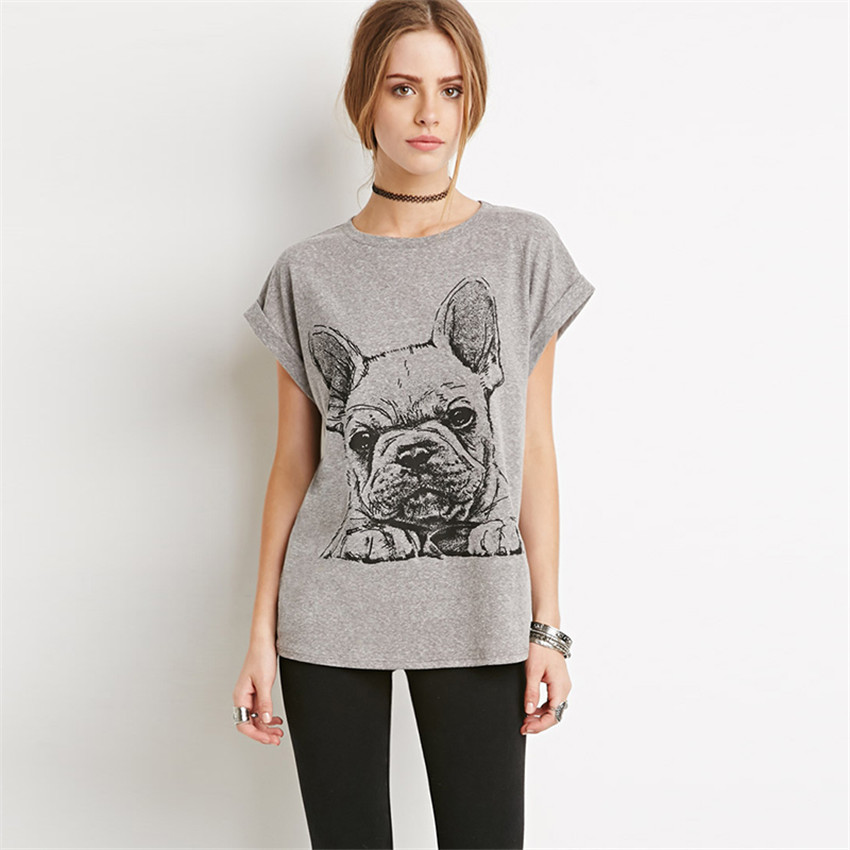 2016 newest t shirt women cartoon bulldog pattern roll up for How to roll up sleeves on women s dress shirt