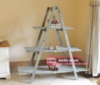 European pastoral wood stairs flower pots frame whitewashed step process to do the old antique plant stand