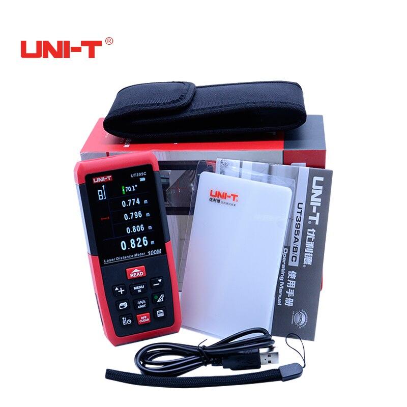 Цифровой лазерный дальномер профессионального лазерного дальномера метров UNI-T UT395C 100 м USB самокалибровка измерения Площадь/объем инструмен...