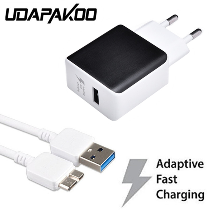 100% Adaptive fast Charging EU travel Wall Charger + Micro usb 3.0 Cable For Samsung Galaxy Note 3 III S5 SIV I9600 smartphone