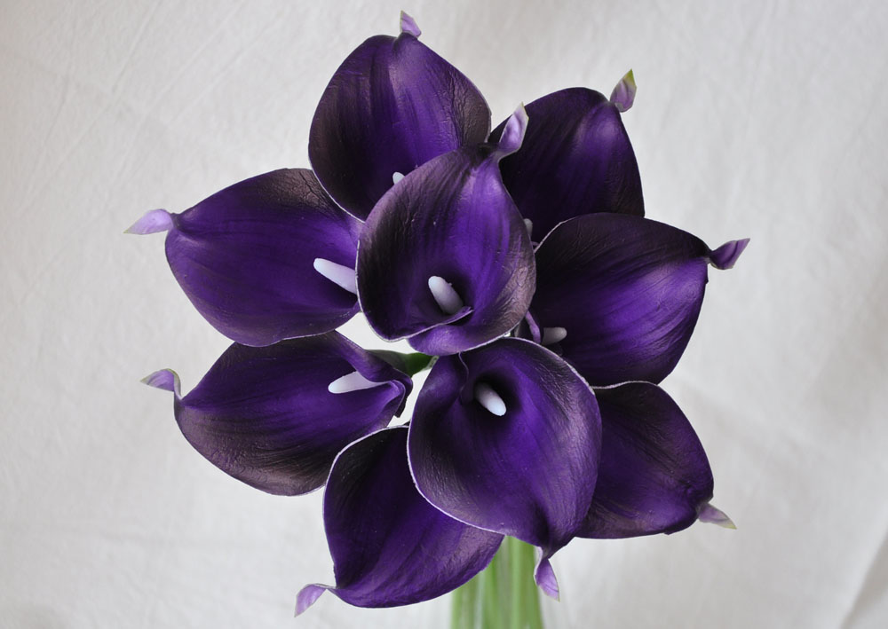 9pcs Eggplant Dark Purple Real Touch Artificial Calla Lilies