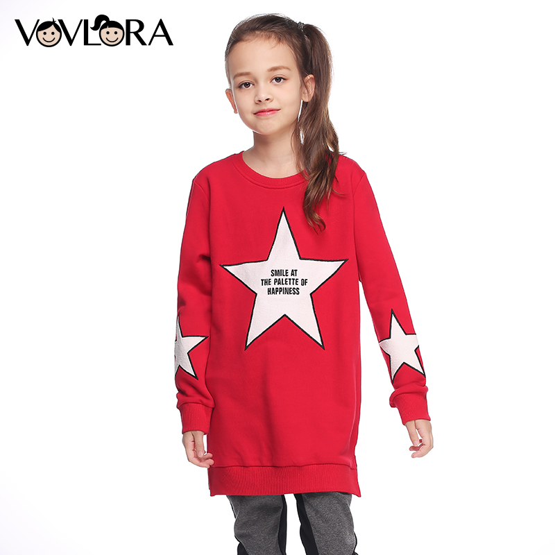 Sweatshirt kids clothes autumn 2017 long knitted sweatshirts tops for baby girls O-neck pattern star cotton red&black size 9-14Y