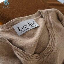 Liny Xin 2017 Novo 100% Suéter de Cashmere das Mulheres Cassic Inverno Manga Longa Com Decote Em V Pulôver