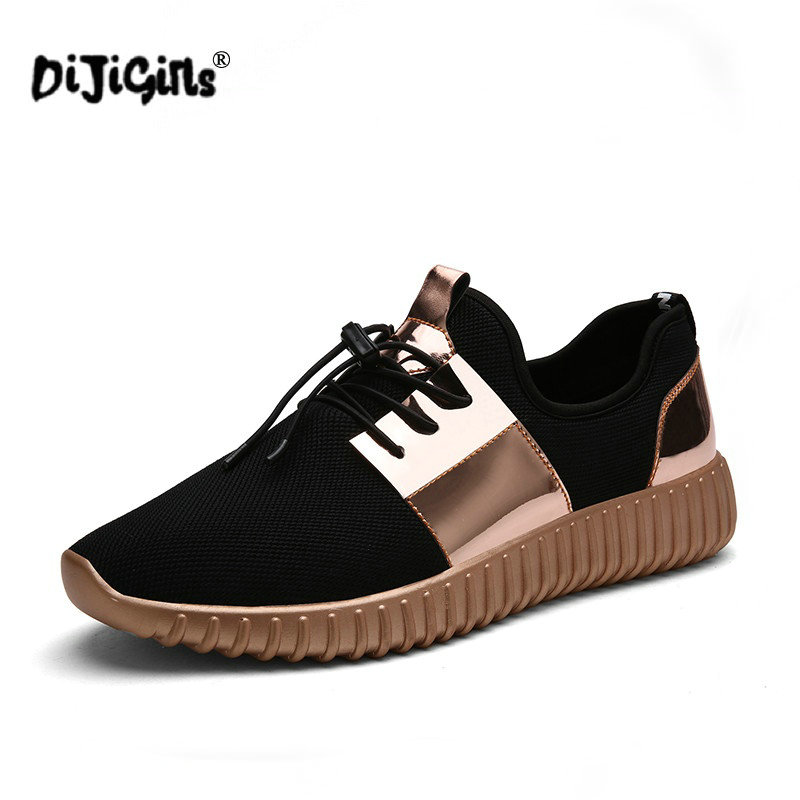 Supply Dijigirls Couple Superstar Air Mesh Glossy Gold Men Casual Shoes Summer Fashion Breathable Durable Outdoor Lace-up Sapatos Demand Exceeding Supply Shoes
