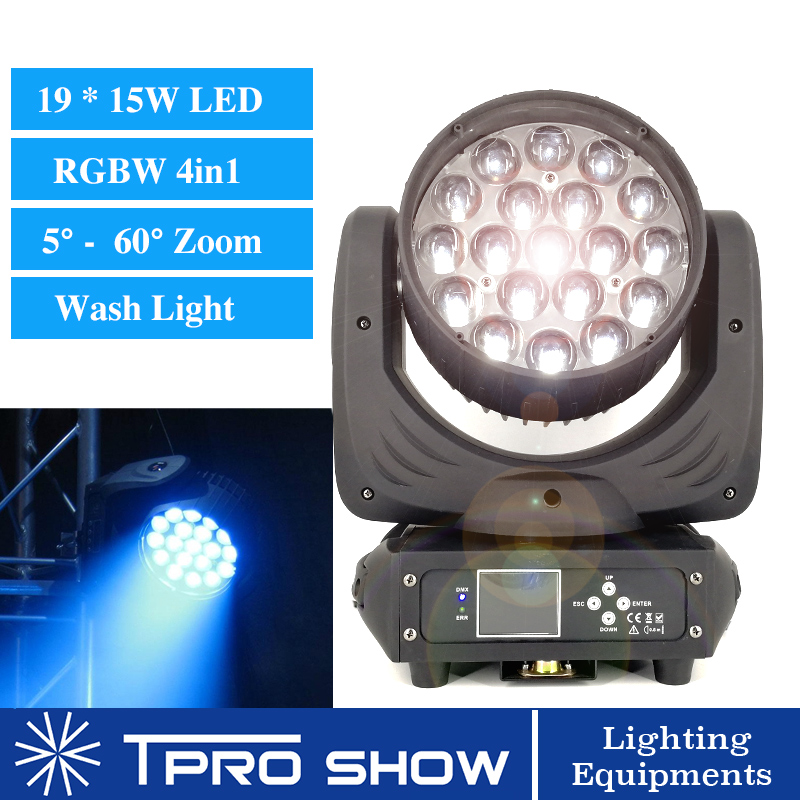 2019 Lyre Wash 19x15W Zoom Moving Head DMX Stage Lighting Effect RGBW Wash Colors Pro DJ Equipment For Wedding Club Laser Show