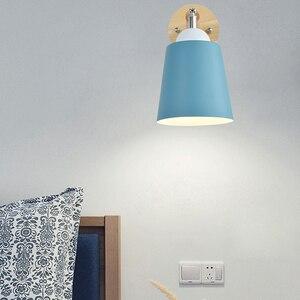 Image 3 - עץ קיר אורות קיר ליד מיטת מנורה עם מתג פמוט קיר מודרני קיר אור עבור שינה נורדי macaron היגוי ראש