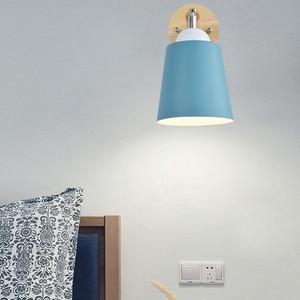 Image 3 - Деревянный настенный светильник s прикроватный настенный светильник с переключателем Настенный бра современный настенный светильник для спальни скандинавский Макарон рулевая головка