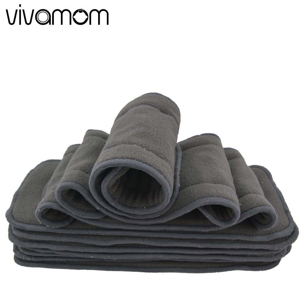 vivamom Baby Diaper Nappy Newborn Cloth Diapers Reusable Bamboo Charcoal Washable Diapers Inserts 5 Layers Baby Diapers Cover baby diapers double guest charcoal bamboo night sleepy two pockets diaper reusable cloth diapers with sewn insert layer cover