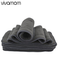 vivamom Baby Diaper Nappy Newborn Cloth Diapers Reusable Bamboo Charcoal Washable Diapers Inserts 5 Layers Baby Diapers Cover Nappy Changing