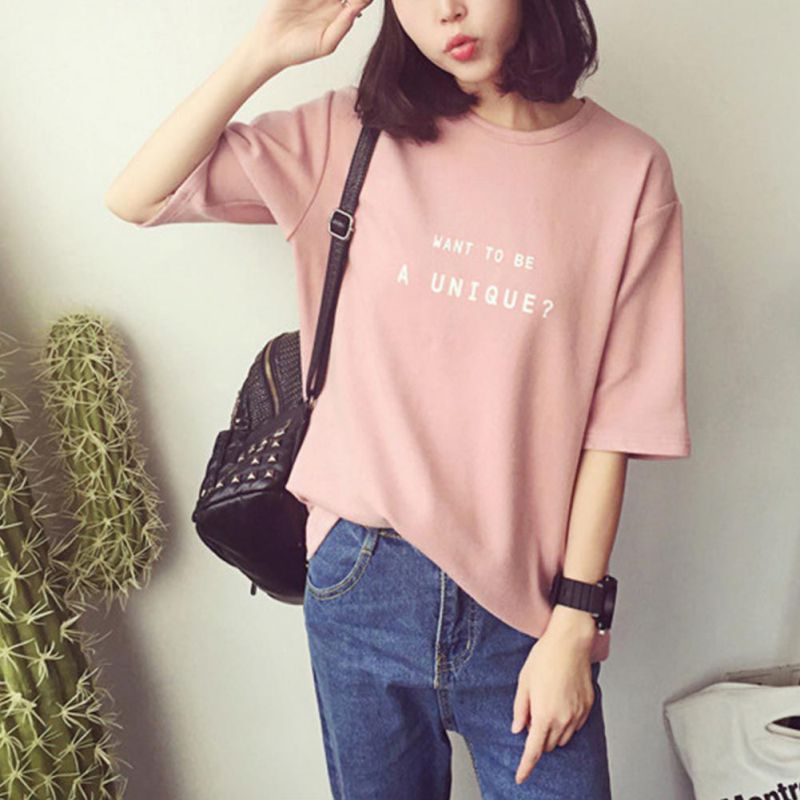 5e599e95a11033 Pink Cotton Short Sleeves Women Vogue Summer T Shirts Print Tshirt ...