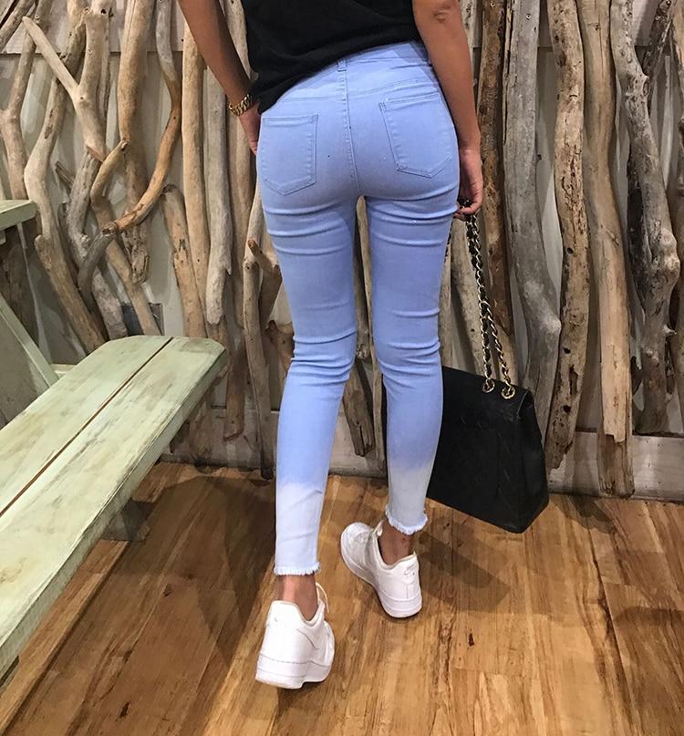 Agujero Mujer Fondo Personalidad Azul Rodilla La Pantalones Vaqueros 2018 De Primavera 2019 Las Cintura Cielo Alta Mujeres Nuevas Gradualmente Formación xZwqtv