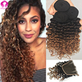 Ombre Indian Wet And Wavy Deep Wave With Wlosure 8A Unprocessed Indian Virgin Hair 3 Bundles With Closure Vip Beauty Hair Style