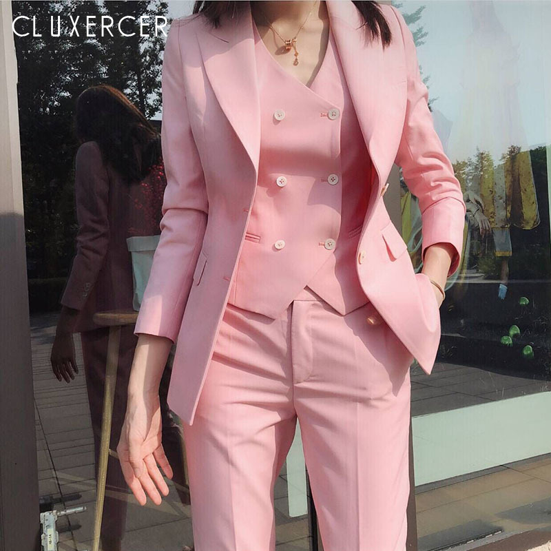2019 New Korean Spring Autumn Pant Suits Office Lady Elegant Pink Blazer+Vest+Pants Three Piece Set Outfits For Women