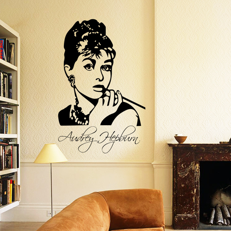 Beauty Audrey Hepburn wall stickers for kids rooms home decor Kids ...