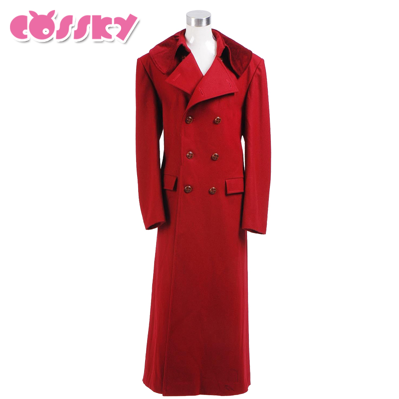 Doctor Who 4th Doctor Coat Cosplay Costume Long Red Wool Trench Fall Winter Outerwear Halloween Christmas Coat