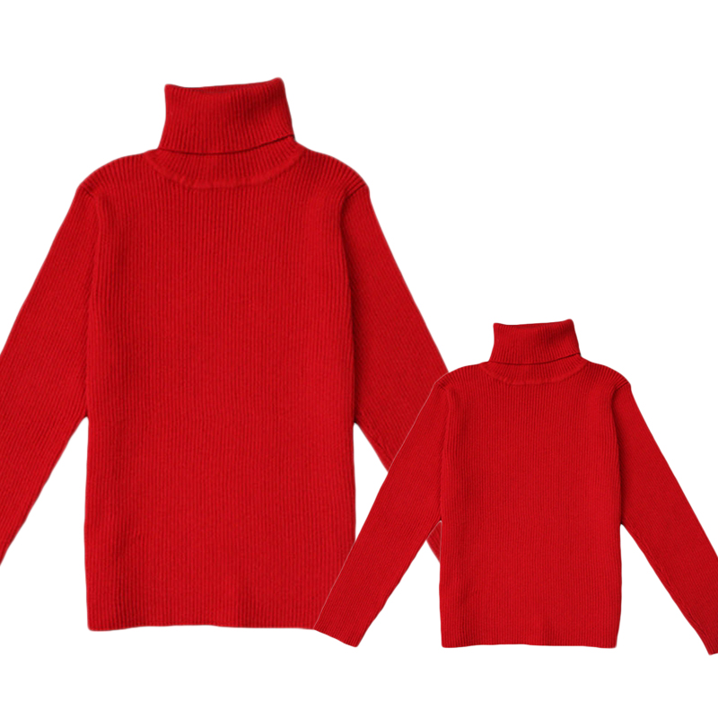 Mother Kids Sewaters Mtui Color Solid Turtleneck Pullovers 2019 New Mon Daughter Son Family Matching Outfits 12M-6Y S-XL GW59