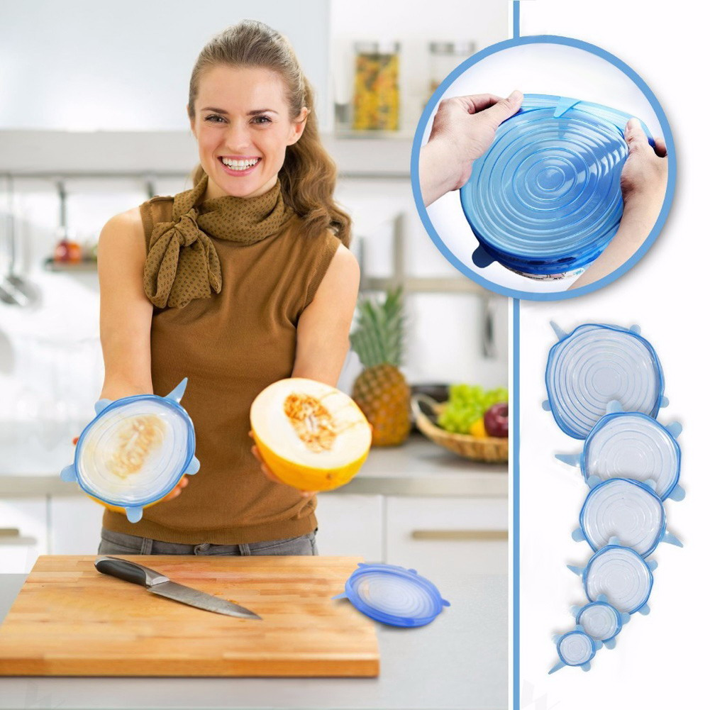 6 piezas envuelve el alimento reutilizable silicona alimentos frescos mantener sellada cubre silicona vacío tapas de estiramiento Saran envuelve organización