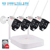 Tonton 8CH 1080 P Smart Home Sicherheit IP Kamera Audio Aufnahme PIR Sensor 2 T HDD Wireless CCTV System NVR video Überwachung Set
