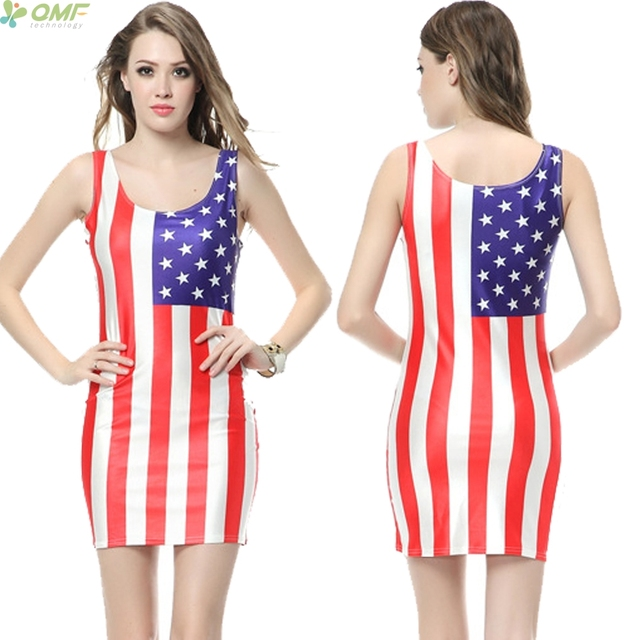 d71b515a87 American Flag Costume Vestidos Fashion Women Casual Short Pencil Dress  Vintage USA Stripes Sundress Sleeveless Sim Mini Dresses