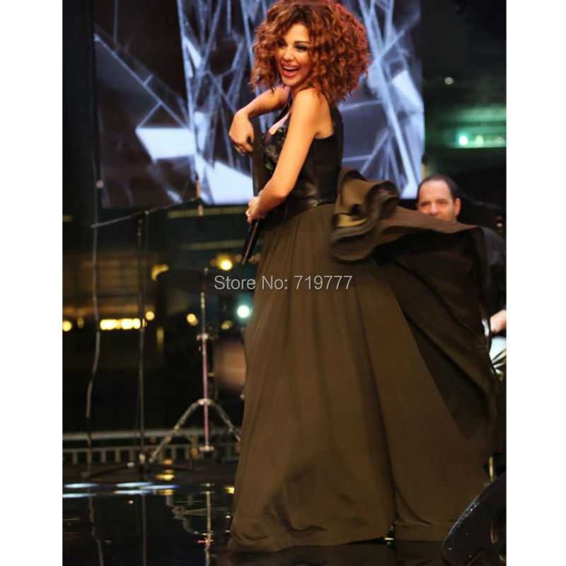 -Black-Floral-Chiffon-Myriam-Fares-Lebanon-Singer-Formal-Dresses-New-Square-Long-Evening-Party-Dress (2)