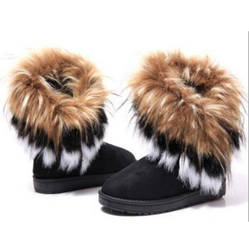Women Winter Warm High Long Snow Ankle Boots Faux Fox Rabbit Fur Tassel Shoes  c