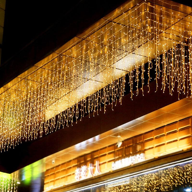 Holiday Garland Christmas Curtain String Light Icicle 5M Droop 0.4-0.6m Fairy Lights For Xmas Wedding Indoor Decor EU Plug