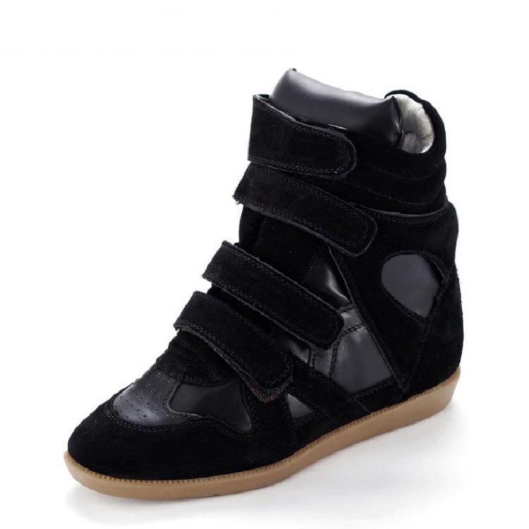 2018 Bobby hiver automne chaussures à semelles compensées Bobby en cuir véritable femmes chaussures décontractées respirant hauteur augmentant plate-forme chaussures
