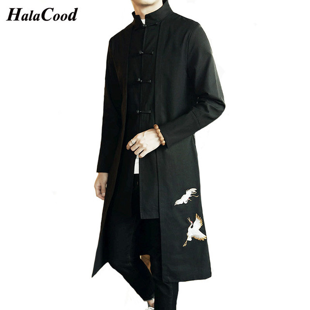 b72b8400db47 Chinese Style Trench Men s Retro Ethnic Style Tang Suit Jacket Men s ...