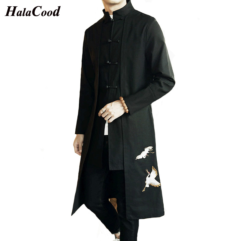 Chinese Style   Trench   Men's Retro Ethnic Style Tang Suit Jacket Men's Long Coat Section Windbreaker Spring Large Size Embroidery