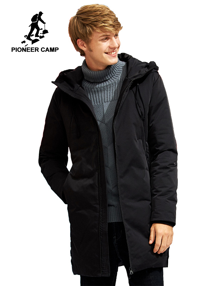 Pioneer Camp new long warm thick winter down jacket men brand-clothing hooded white duck down coat male quality black AYR705304