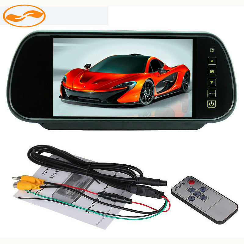 DC 12V 7 TFT LCD Color Car Mirror Monitor Rear View Display Screen with 2 Channels Video Input for Reversing Camera