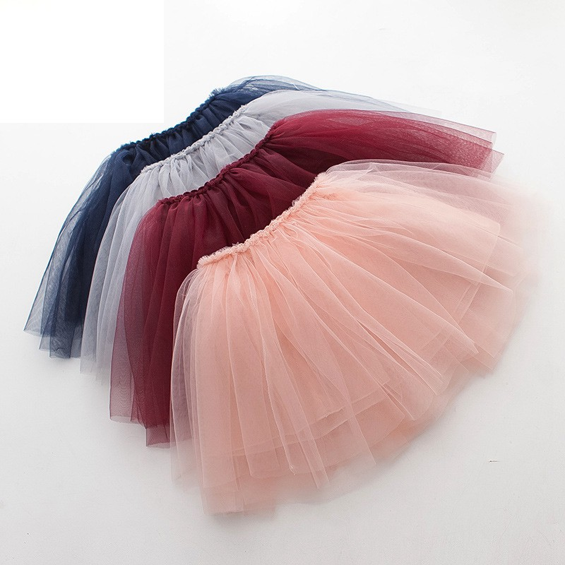 Tutu Skirt Tulle Girls Skirts Knee Length For Kids School Dance Fluffy Red Black Grey Color Princess Style Girls Clothes in Skirts from Mother Kids