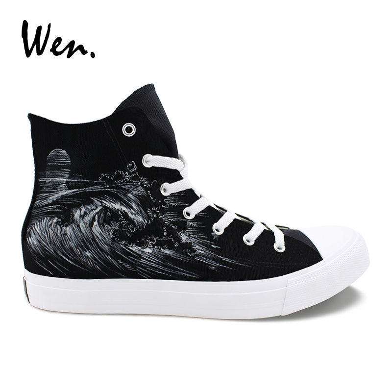 Wen Hand Painted Shoes Tourist Bus Seaside Wave Graffiti Shoes Black High Top Canvas Sneakers Mens Womens Espadrilles Laced Flat e lov high end design women shoes hand painted dream graffiti casual canvas flat shoe low top canvas espadrilles