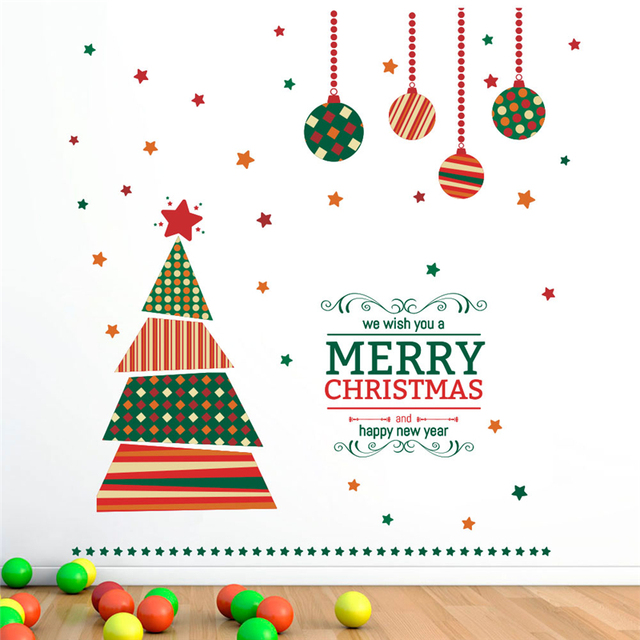 Merry Christmas Ball Tree Wall Decals Kids Rooms Shop