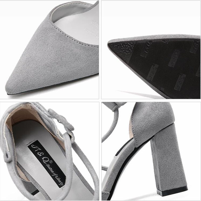 889b20239364 Wikileaks 2017 Woman Pointed Toe Sandals Concise Nude Suede Mid Heels  Sandals Women s Sequined Ankle Strap Summer Dress Shoes -in Women s Sandals  from Shoes ...