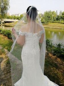 Image 4 - Pente branco com borda cortada 2m, véu de noiva longo com pérolas brancas para casamento véu