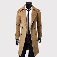 2014 новых зимних плюс 3XL размер роскошные удлинить мужские пальто тонкой верхняя одежда сгущать куртки шерстяные впадины шинель бесплатная доставка