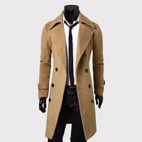 2014 New Winter Plus 3XL Size Luxury Lengthen Mens Coats Slim fit Outerwear Thicken Jackets Woolen Trench Overcoat Free Shipping
