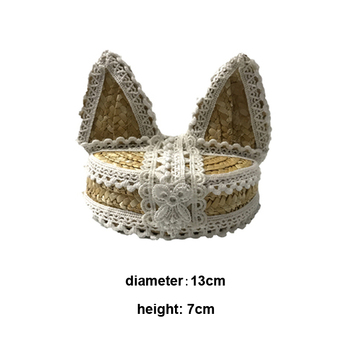Sweet Lolita Cosplay Mori Girls Mini Straw Boater Hat Lace Fox Ear Straw Mini Top Hats Cosplay Party Headpieces Drop Shipping