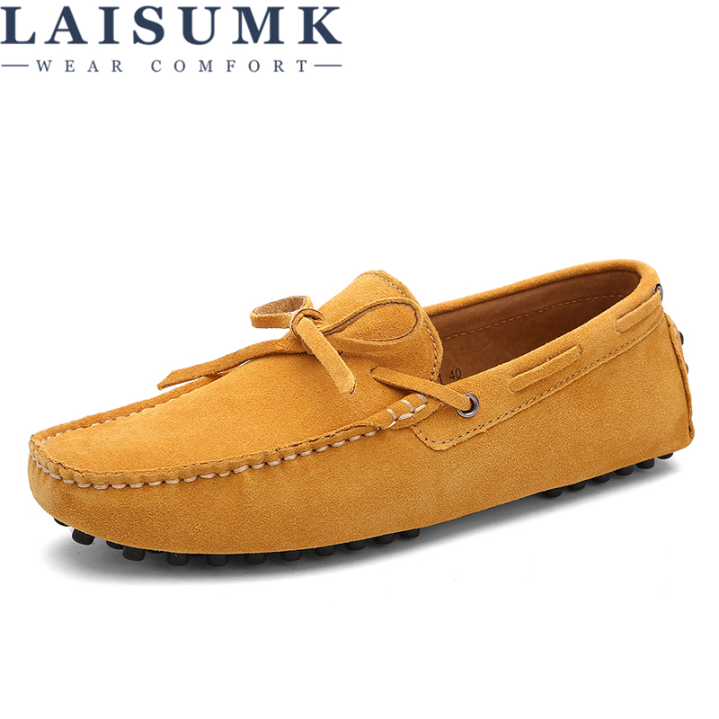 LAISUMK Brand Big Size Cow Suede Leather Men Flats 2020 New Men Casual Shoes High Quality Men Loafers Moccasin Driving Shoes