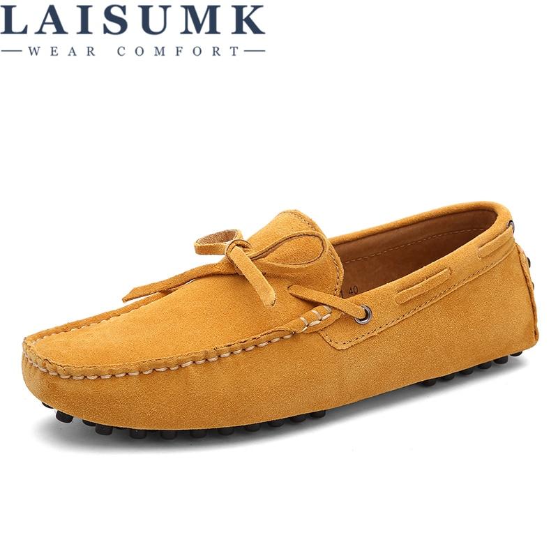 LAISUMK marca de gran tamaño de cuero de ante de vaca hombres planos 2019 nuevos zapatos casuales de hombre de alta calidad mocasines de conducción de mocasines zapatos Nueva Experiencia alta para ayudar a los zapatos deportivos tejidos para hombres, zapatos informales para hombres, zapatos ligeros y cómodos para hombres